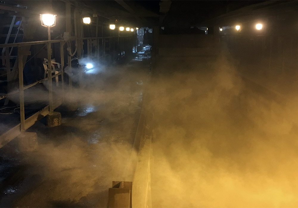 Dust suppression by high-pressure mist at MCP